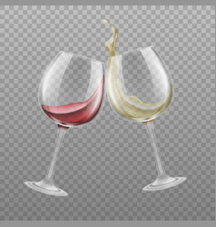 red and white wine wineglasses realistic vector image