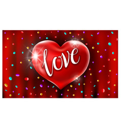 Red heart ballons love text in air confetti vector