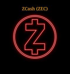red neon zcash zec cryptocurrency symbol vector image