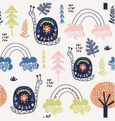 seamless childish pattern with snails and vector image