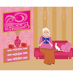 Senior woman in living room reading a book vector