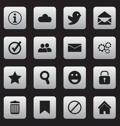Set of 16 editable network icons includes symbols vector