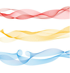 set of abstract colorful smooth wave lines red vector image