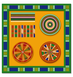 set of african decorative elements tribal print vector image