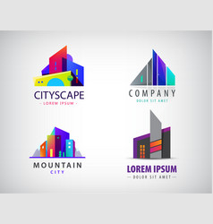 set of modern city logos business uilding vector image