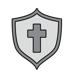 shield with cross icon vector image