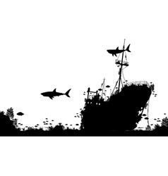 Shipwreck reef vector image