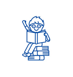 sitting boy reads book line icon concept sitting vector image