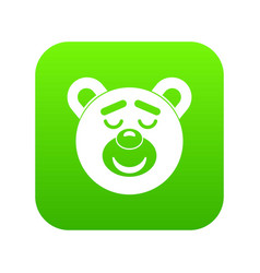 sleeping teddy bear icon digital green vector image