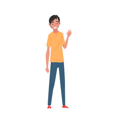 Smiling guy in casual clothes standing and waving vector