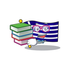 Student with book greece flag placed in cartoon vector