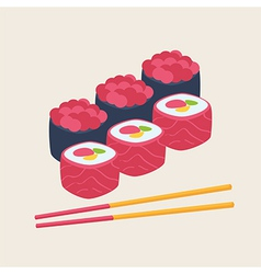 Sushi with rice fish seafood and nori vector