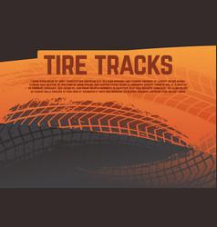 Tire tread tracks background grunge racing vector