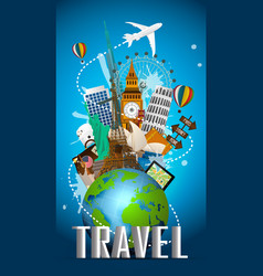 Travel famous monument world vector
