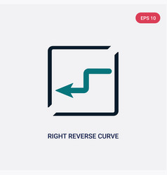 two color right reverse curve icon from maps and vector image