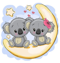 Two cute koalas is sitting on the moon vector