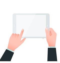 Two hands and blank tablet screen on white vector