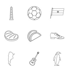 Typical argentina icons set outline style vector