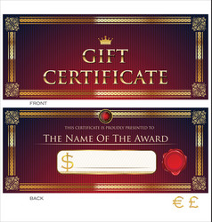 voucher gift certificate coupon red and gold vector image