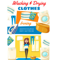 Washing and drying clothes household tips vector