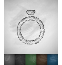 wedding ring icon Hand drawn vector image