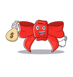 With money bag red ribbon bow on cartoon vector