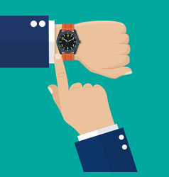 Wristwatch on the hand of businessman in suit vector