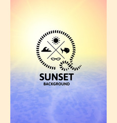 yellow sunset with blue water sea surface vector image