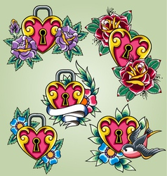 bird heart and rose tattoo set vector image vector image
