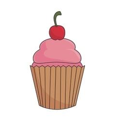 cupcake dessert strawberry vector image