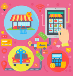 online shopping mobile marketing and digital vector image vector image