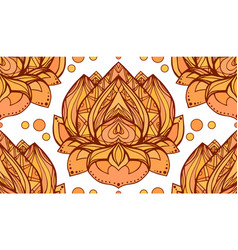 seamless pattern with gold yellow lotus element vector image