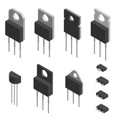 set of different transistors in 3d vector image