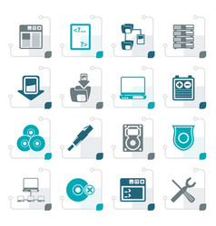 stylized server side computer icons vector image vector image