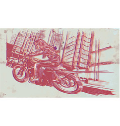 an woman riding motorcycle an hand drawn vector image