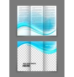 Blue wave brochure vector image