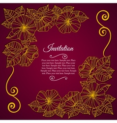 Elegant invitation card with floral lace quilling vector image