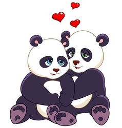 love cartoon pandas vector image vector image