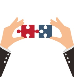 Two Business Hands combining two pieces of puzzle vector image vector image