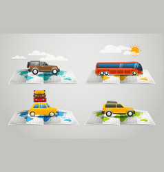 World map with different vehicle infographic vector image vector image