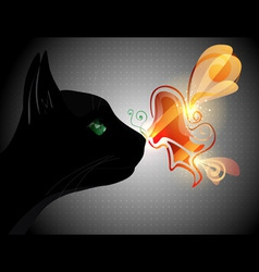 Butterfly on Cat Nose vector image vector image