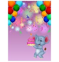 Elephant cartoon holding birthday cake vector image vector image