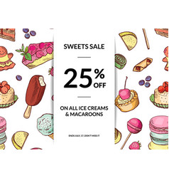 hand drawn sweets sale background template vector image