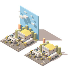 isometric warehouse building icon with vector image