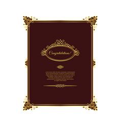 vintage golden template on dark red vector image