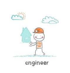Engineer keeps the house vector