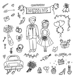 groom wedding doodle vector image