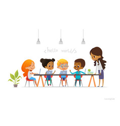 happy children sitting at laptops and learning vector image