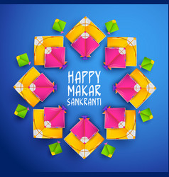 happy makar sankranti wallpaper with colorful kite vector image
