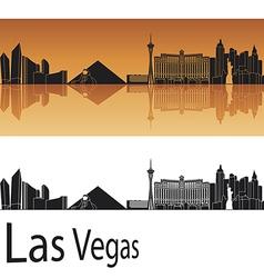 Las vegas skyline in orange background vector